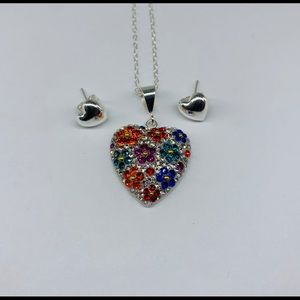 Heart ♥️ and flowers Swarovski 925 sterling silver